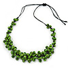 Apple Green Wood Bead Cluster Black Cotton Cord Necklace - 72cm L