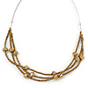Multistrand Wired Bronze Glass Bead Necklace In Silver Tone - 50cm L/ 4cm Ext