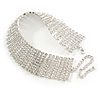 Statement 9 Row Clear Crystal Choker Necklace In Silver Tone - 28cm L/ 10cm Ext