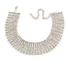Statement 7 Row Clear Crystal Choker Necklace In Silver Tone - 27cm L/ 11cm Ext