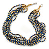Multistrand Dark Blue/ Gold Acrylic Bead Necklace - 45cm L