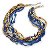 Multistrand Blue Glass Bead, Violet Blue Shell Nugget, Gold Acrylic Bead Necklace - 47cm L/ 4cm Ext