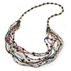 Multistrand Multicoloured Glass and Acrylic Bead Necklace - 86cm L
