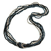 Long Multistrand Black, Grey, Hematite Glass/ Acrylic Bead Necklace - 90cm L