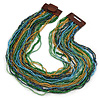 Light Blue/ Gold/ Green Glass Bead Multistrand, Layered Necklace With Wooden Square Closure - 60cm L