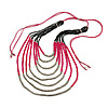 Long Multistrand, Layered Deep Pink Wood/ Black Glass Bead Necklace with Pink Suede Cord - Adjustable - 110cm/ 140cm L