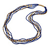 Long Multistrand Inky Blue Glass, Gold Acrylic Bead Necklace - 100cm L