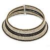 Antique White/ Brown Glass Bead Flex Choker Necklace - Adjustable