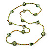 Long Green/ Lime/ Olive Green Glass, Pearl, Sea Shell Bead Necklace - 102cm L