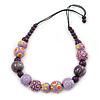 Lilac/ Purple Wood Bead Black Cotton Cord Necklace - 66cm L