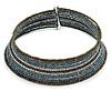 Hematite/ Bronze/ Brown Glass Bead Flex Choker Necklace - Adjustable