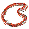 Long Multistrand Pink Salmon, Coral and Bronze Glass/ Acrylic Bead Necklace - 90cm L