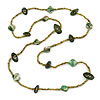 Long Dark Green/ Lime/ Olive Green Glass, Bone Bead and Sea Shell Nugget Bead Necklace - 112cm L