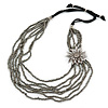 Metallic Silver Bead with Grey Leather Flower Black Sued Cord Multistrand Necklace - 90cm L