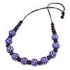 Purple Wood Bead with Black Cotton Cord Necklace - 68cm L