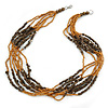 Multistrand Glass/ Acrylic Bead Necklace (Gold, Brown) - 59cm L