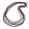 Long Multistrand Deep Purple/ Bronze Wood, Glass Bead Necklace - 100cm L