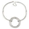 Ethnic Silver Plated Hammered Circle Pendant Bar Necklace - 42cm L/ 8cm Ext