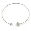 Crystal Double Pearl Bead Bar Choker Necklace In Silver Tone