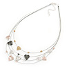 Multistand Wire with Heart Charm Necklace In Silver Tone Metal - 44cm L/ 6cm Ext
