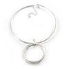 Light Silver Tone Multi Wire with Open Cut Round Pendant Necklace - 44cm L/ 7cm Ext