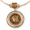 Large Round Champagne Glass Medallion Pendant with Gold Plated Metal Bar Necklace - 45cm L