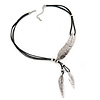 Vintage Inspired Silver Tone Feather Pendant with Black Waxed Cords - 50cm L/ 4cm Ext