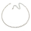 Single Row Clear Crystal Choker Necklace In Silver Tone Metal - 30cm L/ 11cm Ext