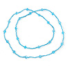 Light Blue Glass Bead Long Singe Strand Necklace - 114cm L