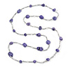 Long Purple Stone and Silver Tone Acrylic Bead Necklace - 118cm L