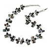 Slate Black Shell Nugget & Black Ceramic Bead Necklace In Silver Tone - 46cm L/ 3cm Ext