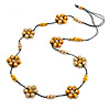 Long Yellow Neutral Wooden Flower Black Cotton Cord Necklace - 114cm L