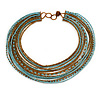 Multistrand Wired Glass Bead Necklace (Light Blue, Bronze) - 60cm L/ 3cm Ext