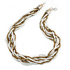 White, Bronze Gold Glass Bead Multistrand Twisted Necklace - 47cm L