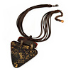 Statement Tribal Triangular Shell Pendant with Multi Brown Waxed Cords Necklace - 41cm L/ 9cm Ext