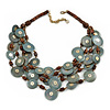 Ethnic Multistrand Wood Dusty Blue Coin Necklace - 50cm L/ 8cm Ext