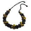 Black/ Olive Cluster Wood Bead Black Cotton Cord Necklace - 80cm L