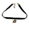 Black Velour Choker Necklace with Bronze Tone Lips Pendant - 34cm L/ 4cm Ext