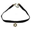 Black Velour Choker Necklace with Bronze Tone Star Pendant - 35cm L/ 4cm Ext