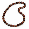 Long Chunky Brown Wood Bead Necklace - 82cm L