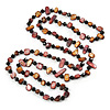 Long Brown/ Plum Shell Nugget and Black Glass Crystal Bead Necklace - 120cm L
