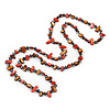 Long Brown/ Brick Red Shell Nugget and Purple Glass Crystal Bead Necklace - 120cm L