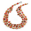 3 Strand Brick Red/ Mustard Brown Shell Nugget and Nude Crystal Bead Necklace with Silver Tone Spring Ring Closure - 66cm L