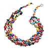 3 Strand Multicoloured Shell Nugget and Crystal Bead Necklace with Silver Tone Spring Ring Closure - 52cm L/ 5cm Ext