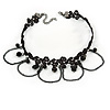 Black Lace Bead and Chain Choker Necklace - 37cm L/ 6cm Ext