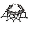 Black Lace Chain with Crystal Bead Victorian/ Gothic/ Burlesque Choker Necklace - 33cm L/ 7cm Ext