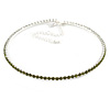 Thin Olive Green Top Grade Austrian Crystal Choker Necklace In Rhodium Plated Metal - 36cm L/ 10cm Ext