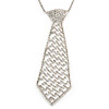 Star Quality Clear Austrian Crystal Tie Necklace In Silver Tone Metal - 37cm L/ 17cm Ext /15cm Tie