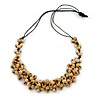 Natural Wood Bead Cluster Black Cotton Cord Necklace - 64cm L