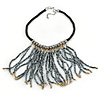 Contemporary Silver, Bronze Acrylic Bead Fringe Black Cotton Cord Necklace - 43cm L/ 5cm Ext/ 14cm Fringe